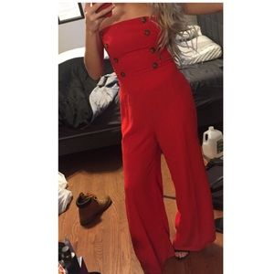 Red bell bottoms jumpsuit